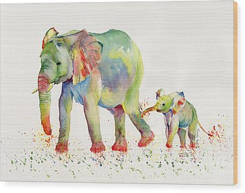 Elephant Family Watercolor  Wood Print