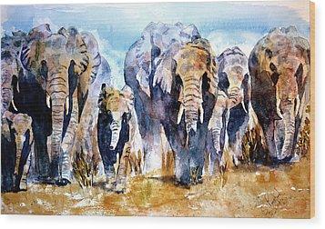 Elephant Herd Wood Print by Steven Ponsford