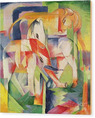 Elephant Horse And Cow Wood Print by Franz Marc