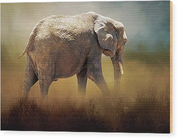 Wood Print featuring the photograph Elephant In The Mist by David and Carol Kelly