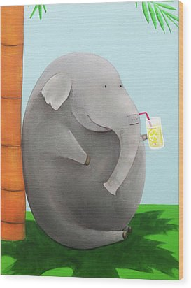 Elephant In The Shade Wood Print by Lael Borduin