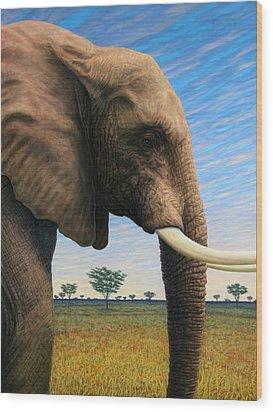 Elephant On Safari Wood Print by James W Johnson