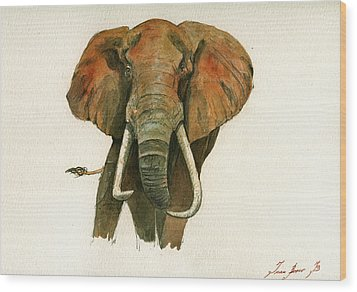Elephant Painting           Wood Print by Juan  Bosco