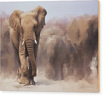 Elephant Painting Wood Print by Michael Greenaway