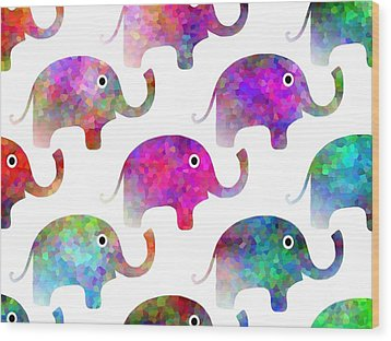 Elephant Parade Wood Print by Kathleen Sartoris
