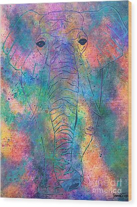 Wood Print featuring the painting Elephant Spirit by Denise Tomasura