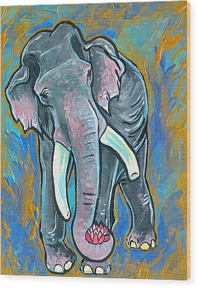 Wood Print featuring the painting Elephant Spirit Dreams by Jenn Cunningham