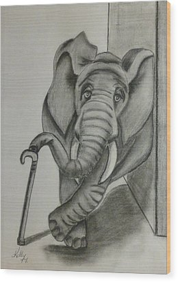 Wood Print featuring the drawing Elephant Still Waiting by Kelly Mills