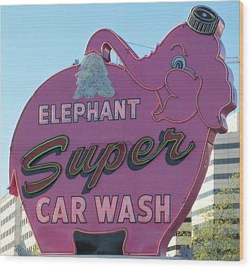Elephant Super Car Wash Wood Print by Randall Weidner
