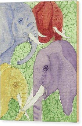 Elephants In The Room Wood Print by Joan Zepf
