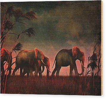 Elephants Walking Together Wood Print