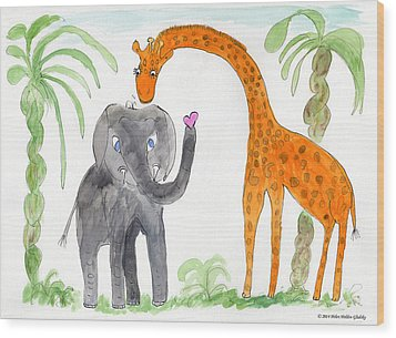 Elephoot And Elliot Wood Print