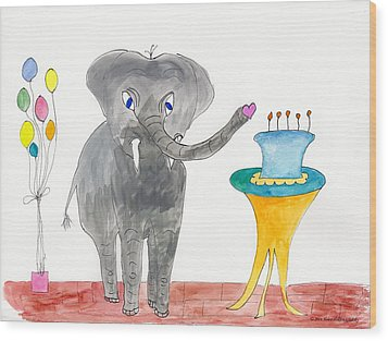 Elephoot's Birthday Greeting Wood Print