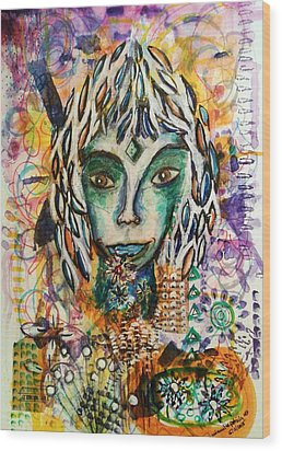 Wood Print featuring the mixed media Elf by Mimulux patricia no No
