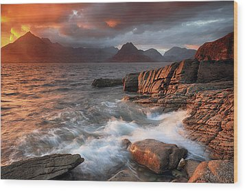 Wood Print featuring the photograph Elgol Stormy Sunset by Grant Glendinning