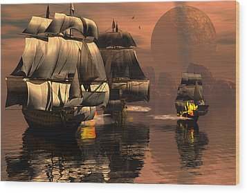 Eliminating The Pirates Wood Print by Claude McCoy