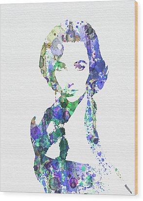 Elithabeth Taylor Wood Print by Naxart Studio