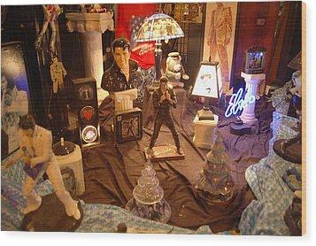 Elivis Presley Store Window Beale Street Memphis Tennessee Wood Print by Wayne Higgs