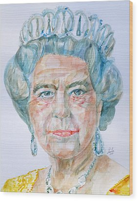 Wood Print featuring the painting Elizabeth II - Watercolor Portrait.2 by Fabrizio Cassetta