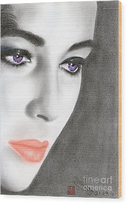 Wood Print featuring the drawing Elizabeth Taylor by Eliza Lo