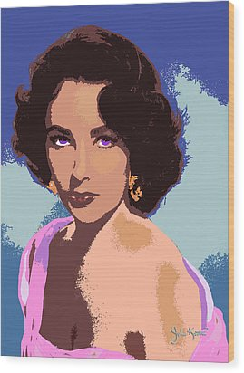 Wood Print featuring the painting Elizabeth Taylor by John Keaton