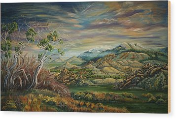 Wood Print featuring the painting Elk Mountain Sunrise by Dawn Senior-Trask