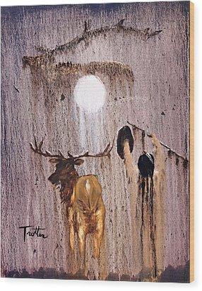 Elk Spirit Wood Print by Patrick Trotter