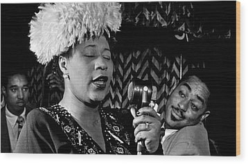 Ella Fitzgerald Dizzy Gillespie And Ray Brown William Gottlieb Photo Nyc 1947-2015 Wood Print by David Lee Guss