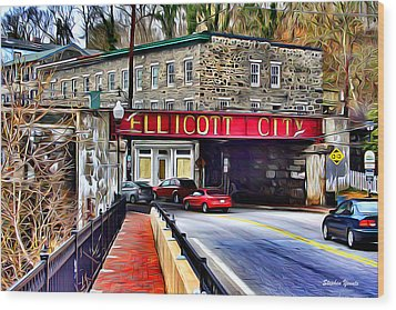 Ellicott City Wood Print