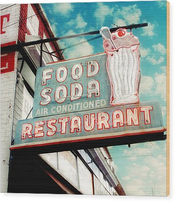 Elliston Place Soda Shoppe - Square Crop Wood Print by Amy Tyler
