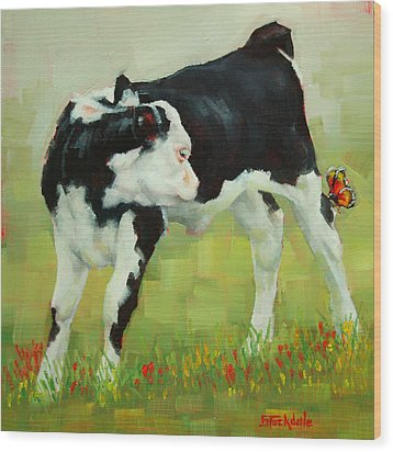 Elly The Calf And Friend Wood Print