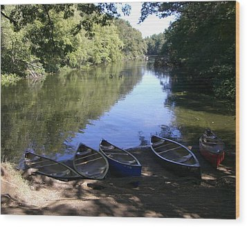 Elm Bank - Boats Wood Print by Nancy Ferrier