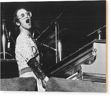 Elton John 1975 Dodger Stadium Wood Print by Chris Walter