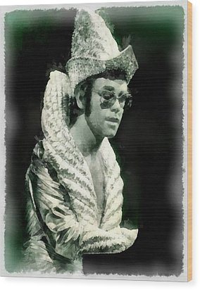 Elton John By John Springfield Wood Print