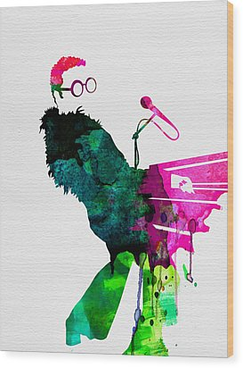 Elton Watercolor Wood Print by Naxart Studio