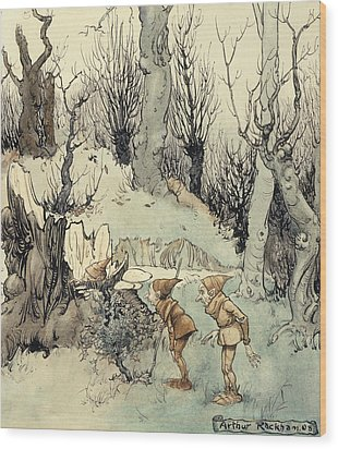 Elves In A Wood Wood Print by Arthur Rackham