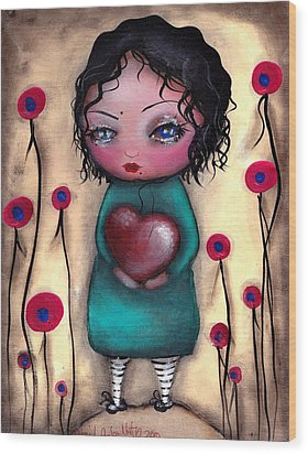 Elvira's Heart  Wood Print by  Abril Andrade Griffith