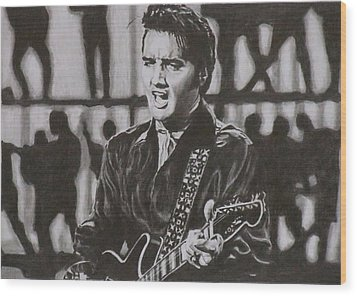 Elvis - 68 Comeback Wood Print by Mike OConnell