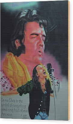 Elvis And Jon Wood Print