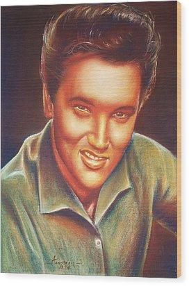 Elvis In Color Wood Print by Anastasis  Anastasi