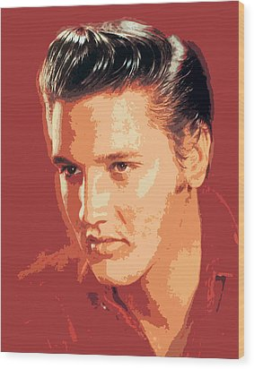 Elvis Presley - The King Wood Print by David Lloyd Glover