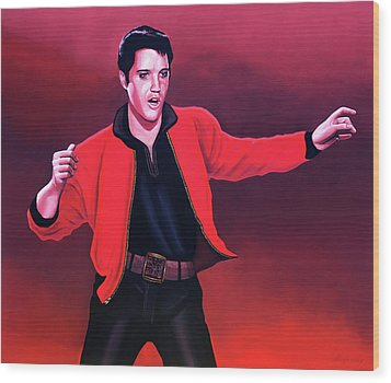 Elvis Presley 4 Painting Wood Print by Paul Meijering
