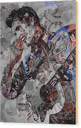 Elvis Presley Collage Wood Print by Gull G