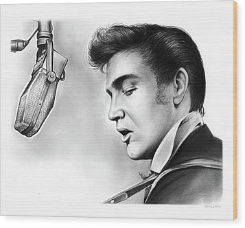 Elvis Presley Wood Print by Greg Joens