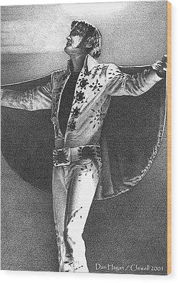 Elvis Presley II Wood Print by Dan Clewell