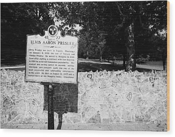 Elvis Presley Marker Nameplate And Low Wall Outside Graceland Memphis Tennessee Usa Wood Print by Joe Fox