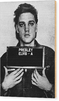 Elvis Presley Mug Shot Vertical 1 Wood Print by Tony Rubino