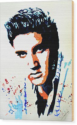 Wood Print featuring the painting Elvis by Steven Ponsford