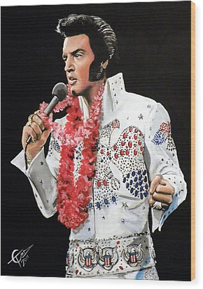 Elvis Wood Print by Tom Carlton