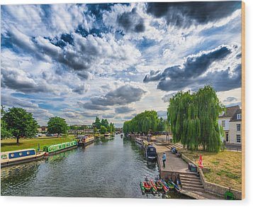 Ely Riverside Wood Print